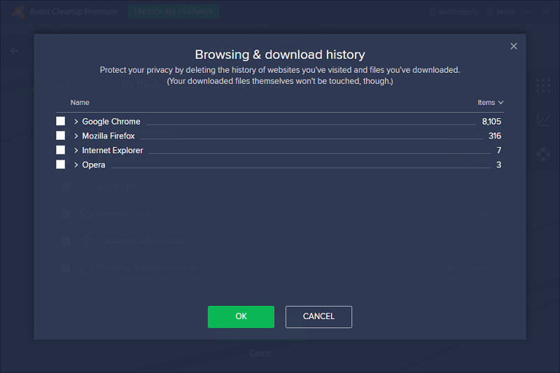 Avast Cleanup After Scanning Results - Browing and Download History