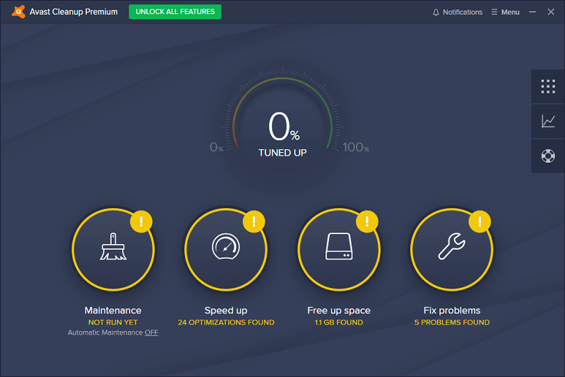 Avast Cleanup Main Screen