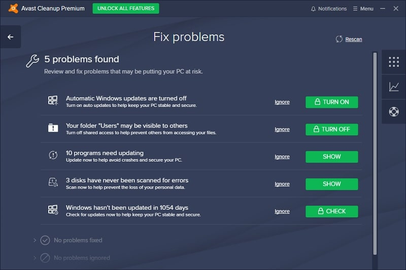 Avast Cleanup Premium Suggestion to Fix Problems