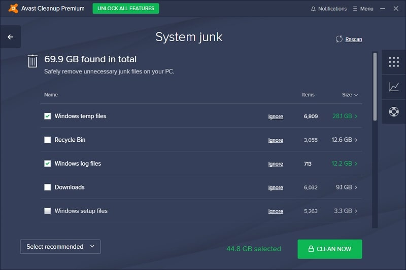 Avast Cleanup Premium System Junk Suggestion to Free up Space