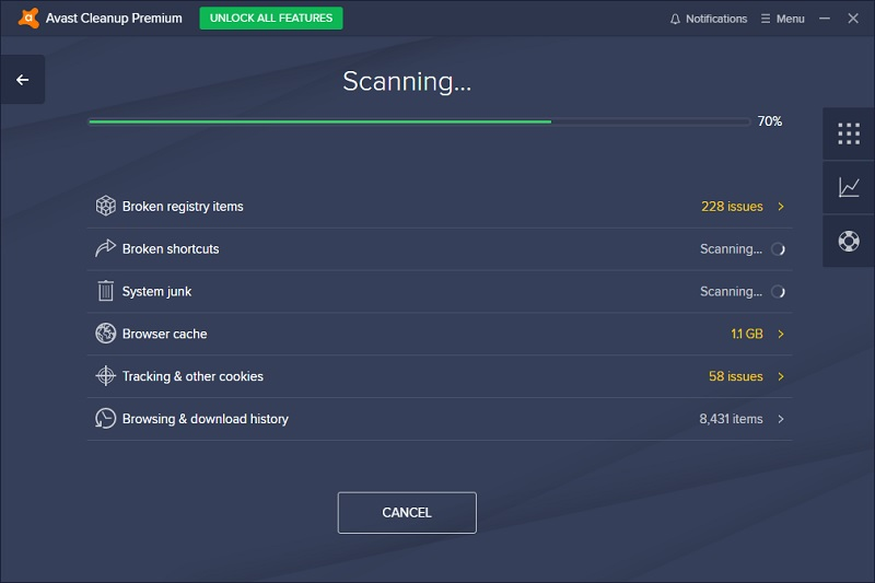 Avast Cleanup Scanning PC